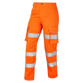 ISO 20471 Class 2 Ladies Poly/Cotton Ladies Cargo Trouser Orange