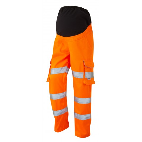 ISO 20471 Class 2 Ladies Poly/Cotton Women's Maternity Cargo Trouser Yellow Orange