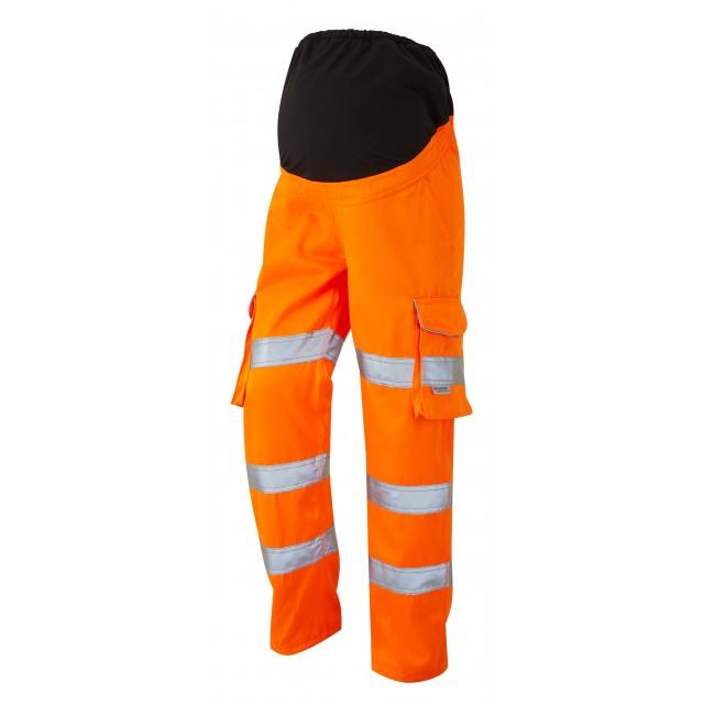 ISO 20471 Class 2 Ladies Poly/Cotton Women's Maternity Cargo Trouser Yellow Orange