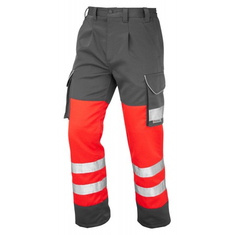 ISO 20471 Class 1 Cargo Trouser Red/Grey Cargo Trousers