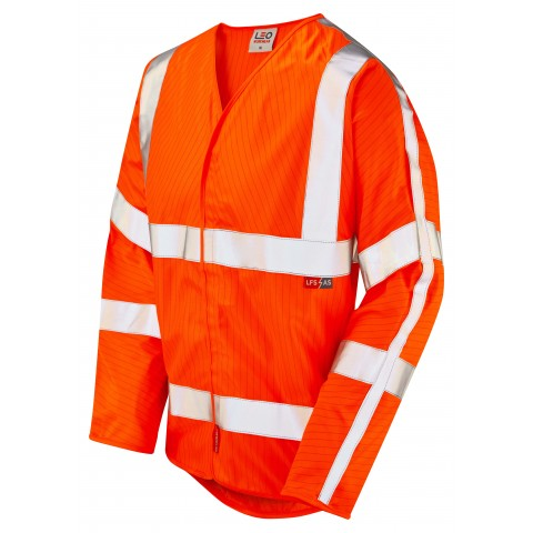 ISO 20471 Class 3 LFS Anti-Static Sleeved Waistcoat Orange EN 14116 LFS/Anti Static Waistcoats