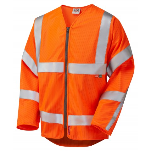 ISO 20471 Class 3 LFS Anti-Static Sleeved Zip Waistcoat Orange EN 14116 LFS/Anti Static Sleeved Waistcoats