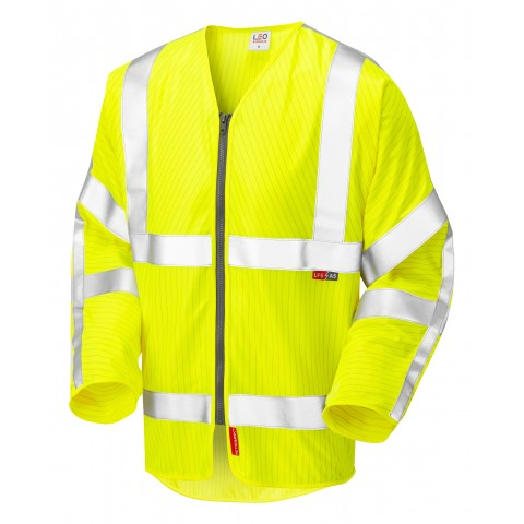 ISO 20471 Class 3 LFS Anti-Static Sleeved Zip Waistcoat Yellow EN 14116 LFS/Anti Static Sleeved Waistcoats