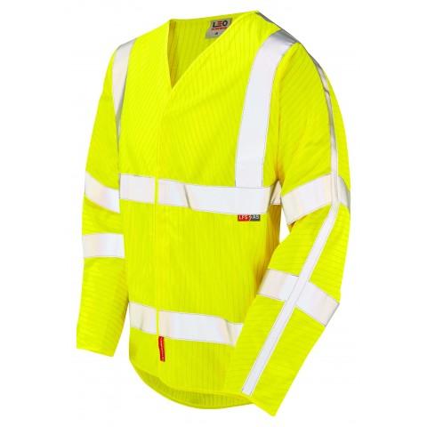 ISO 20471 Class 3 LFS Anti-Static Sleeved Waistcoat Yellow EN 14116 LFS/Anti Static Waistcoats