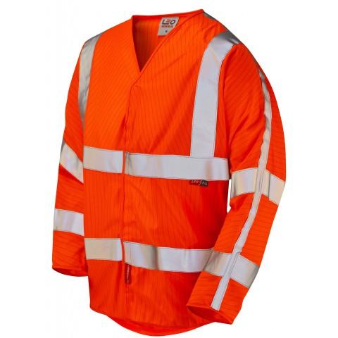 ISO 20471 Class 3 LFS Anti-Static 3/4 Sleeve Waistcoat Orange EN 14116 LFS/Anti Static Waistcoats