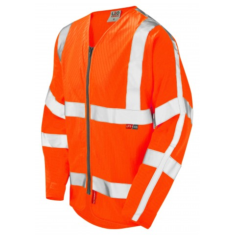 ISO 20471 Class 3 LFS Anti-Static Sleeved Zip Waistcoat Orange EN 14116 LFS/Anti Static Sleeved Waistcoats