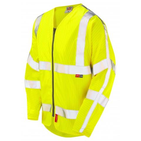 ISO 20471 Class 3 LFS Anti-Static Sleeved Zip Waistcoat Yellow EN 14116 LFS/Anti Static Sleeved Waistcoats