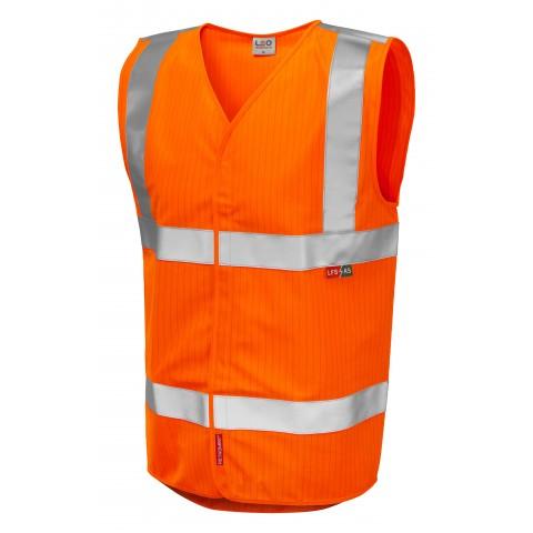 ISO 20471 Class 2 LFS Anti-Static Waistcoat Orange EN 14116 LFS/Anti Static Waistcoats