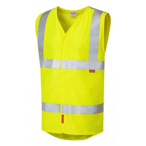 ISO 20471 Class 2 LFS Anti-Static Waistcoat Yellow EN 14116 LFS/Anti Static Waistcoats