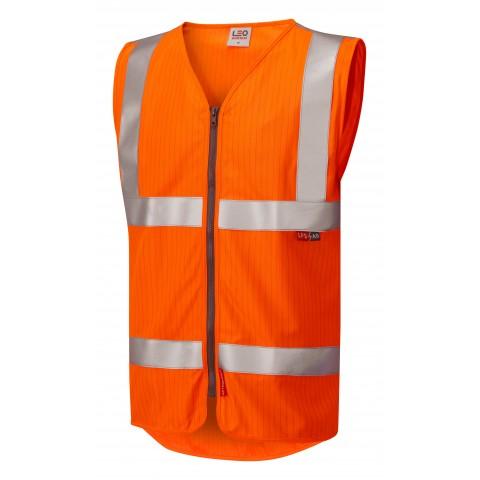 ISO 20471 Class 2 LFS Anti-Static Zip Waistcoat Orange EN 14116 LFS/Anti Static Waistcoats