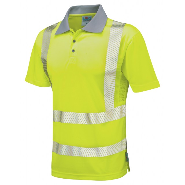 ISO 20471 Class 2 Coolviz Plus Polo Shirt Yellow Coolviz Plus Polos