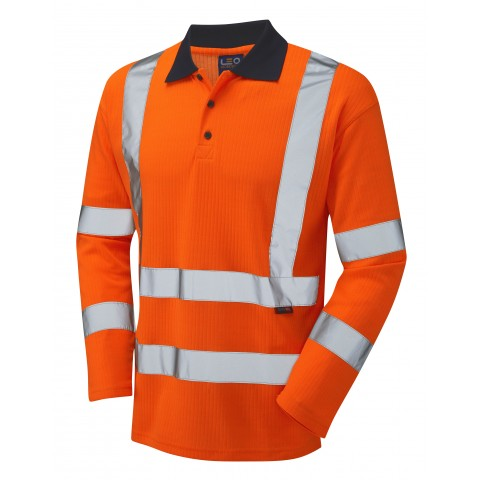 ISO 20471 Class 3 Comfort Sleeved Polo Shirt Orange Comfort Vests, Polos & T-Shirts
