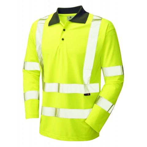 ISO 20471 Class 3 Coolviz Sleeved Polo Shirt Yellow Coolviz Polos & T-Shirts
