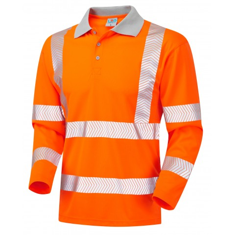 ISO 20471 Class 3 Coolviz Plus Sleeved Polo Shirt Orange Coolviz Plus Polos