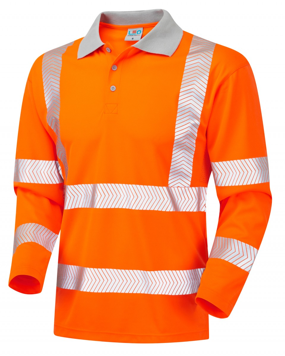 Iso 20471 Class 3 Coolviz Plus Sleeved Polo Shirt Orange