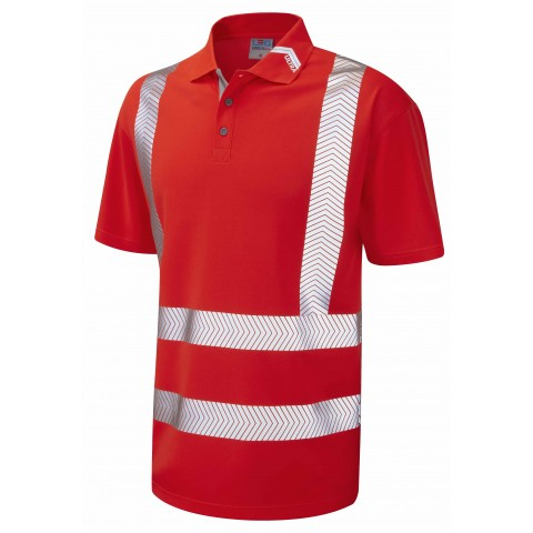 ISO 20471 Class 2 Coolviz Ultra Polo Shirt Red Coolviz Ultra Polos