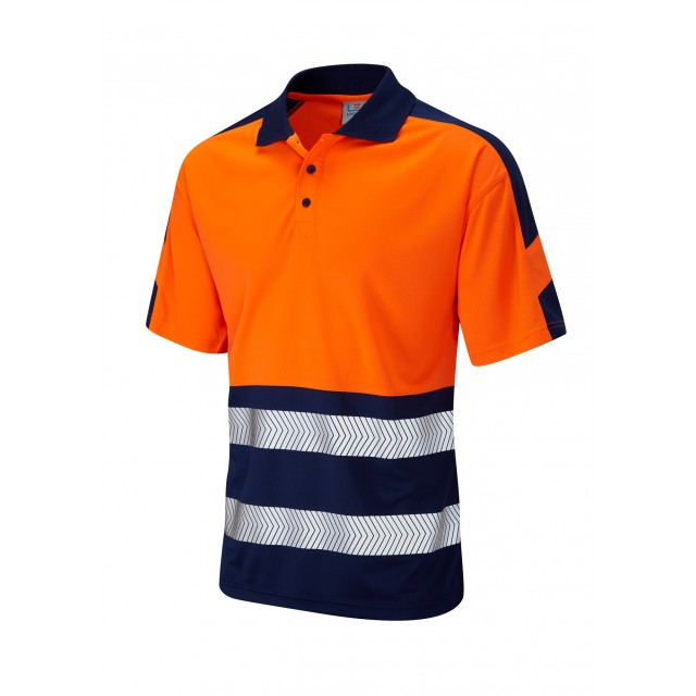 ISO 20471 Class 1 Dual Colour Coolviz Plus Polo Shirt Orange/Navy Coolviz Plus Polos