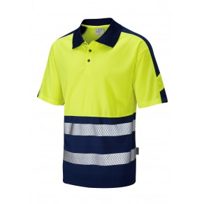 ISO 20471 Class 1 Dual Colour Coolviz Plus Polo Shirt Yellow/Navy