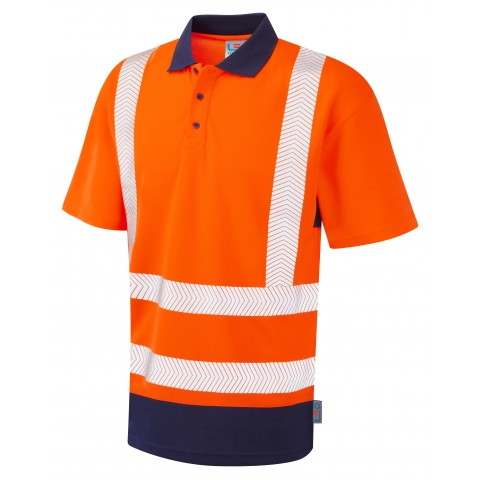 ISO 20471 Class 2 Dual Colour Coolviz Plus Polo Shirt Orange/Navy