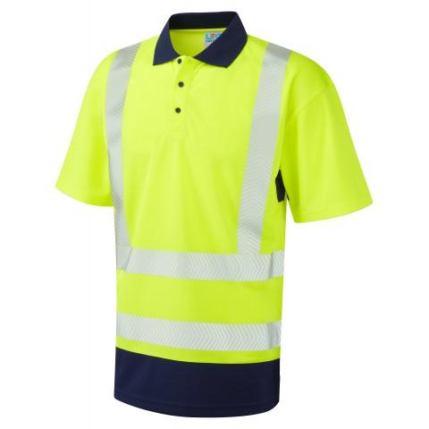ISO 20471 Class 2 Dual Colour Coolviz Plus Polo Shirt Yellow/Navy Coolviz Plus Polos