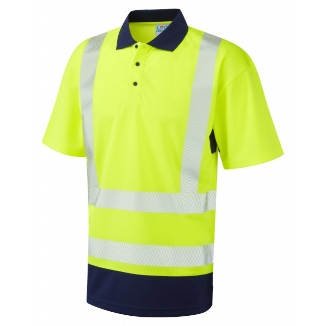 ISO 20471 Class 2 Dual Colour Coolviz Plus Polo Shirt Yellow/Navy Coolviz Plus Polos