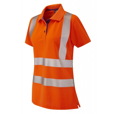 ISO 20471 Class 2 Coolviz Plus Ladies Polo Shirt Orange Coolviz Plus Polos