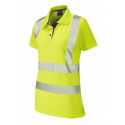 ISO 20471 Class 2 Coolviz Plus Ladies Polo Shirt Yellow Coolviz Plus Polos