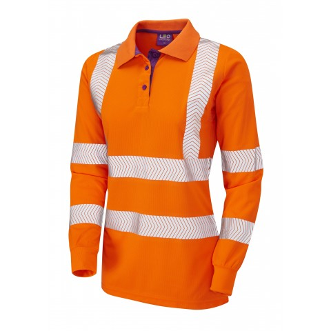 ISO 20471 Class 2 Coolviz Plus Ladies Sleeved Polo Shirt Orange Coolviz Plus Polos