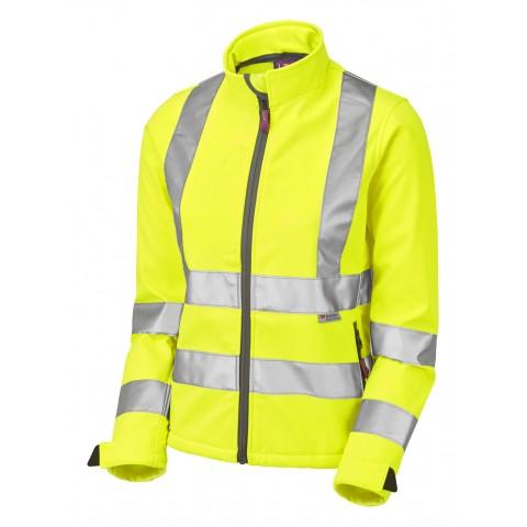 ISO 20471 Class 2 Women's Softshell Jacket Yellow Ladies Softshell Jackets