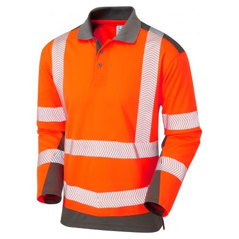 ISO 20471 Class 2 Coolviz Plus Sleeved Polo Shirt Orange/Grey Coolviz Plus Polos