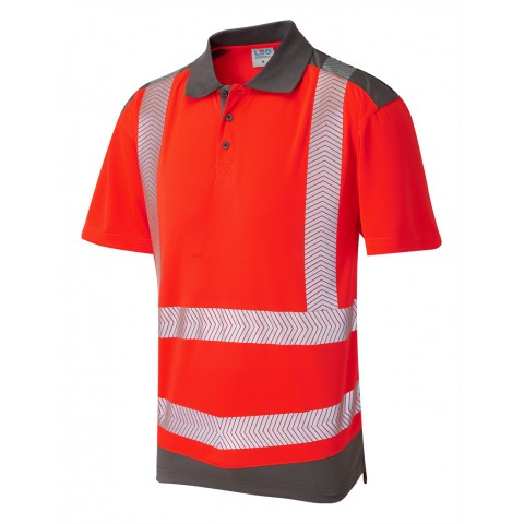 ISO 20471 Class 2 Coolviz Plus Polo Shirt Red/Grey Coolviz Plus Polos