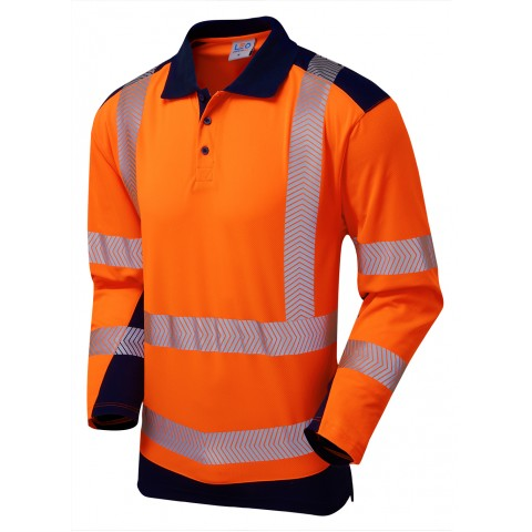 ISO 20471 Class 2 Coolviz Plus Sleeved Polo Shirt Orange/Navy Coolviz Plus Polos