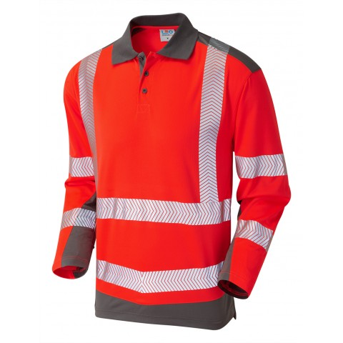 ISO 20471 Class 2 Coolviz Plus Sleeved Polo Shirt Red/Grey Coolviz Plus Polos