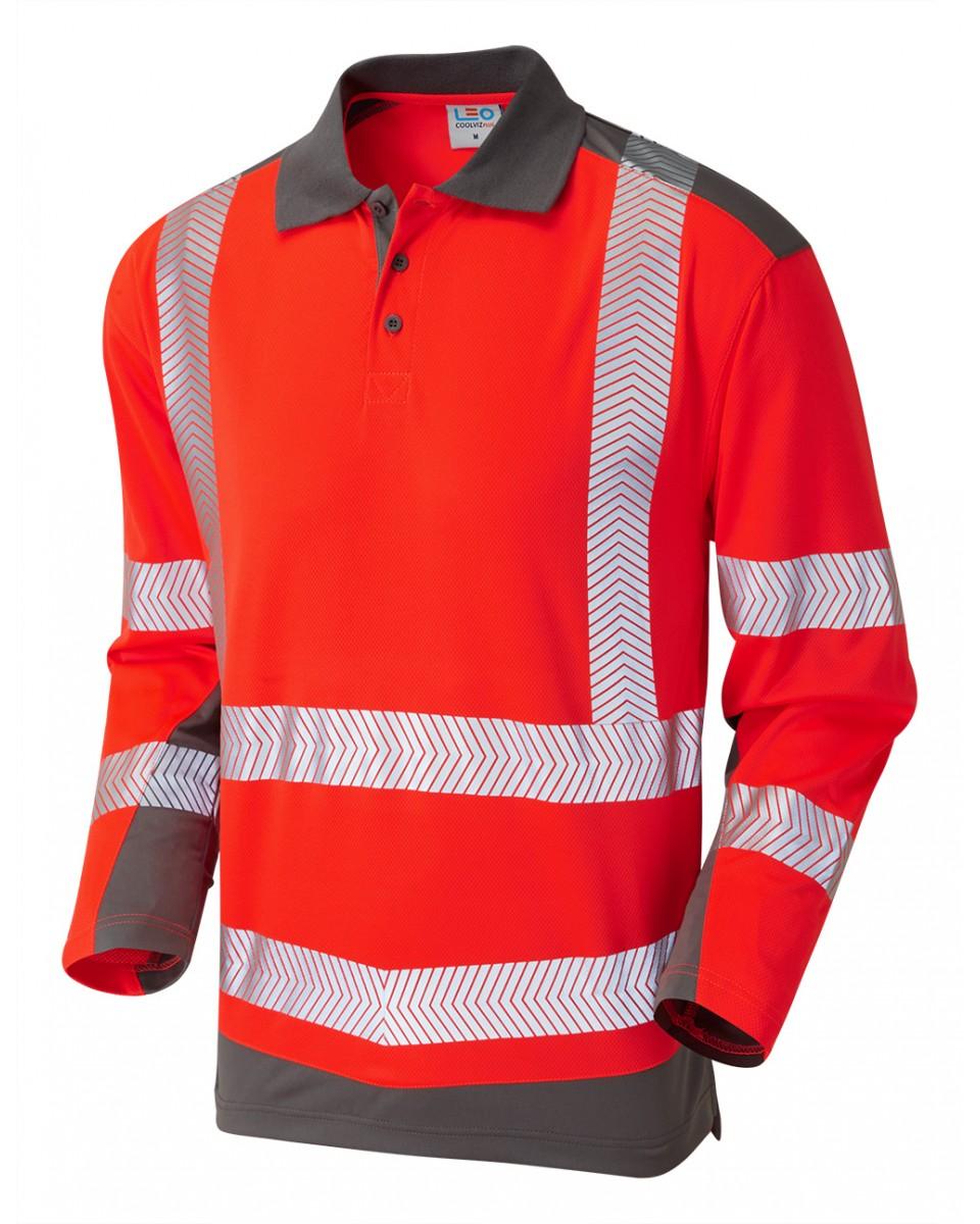 e2340716cce37 ISO 20471 Class 2 Coolviz Plus Sleeved Polo Shirt Red/Grey Coolviz Plus  Polos