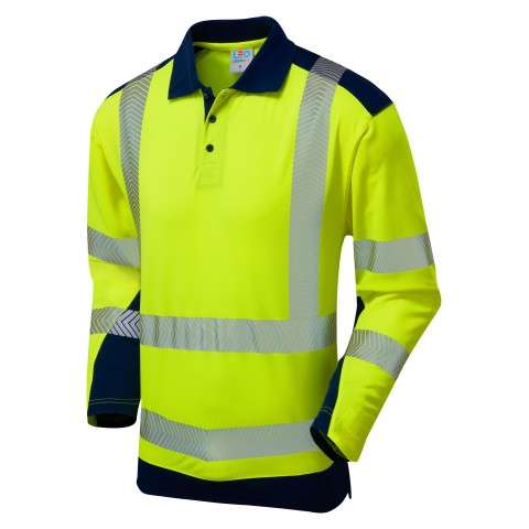 ISO 20471 Class 2 Coolviz Plus Sleeved Polo Shirt Yellow/Navy Coolviz Plus Polos