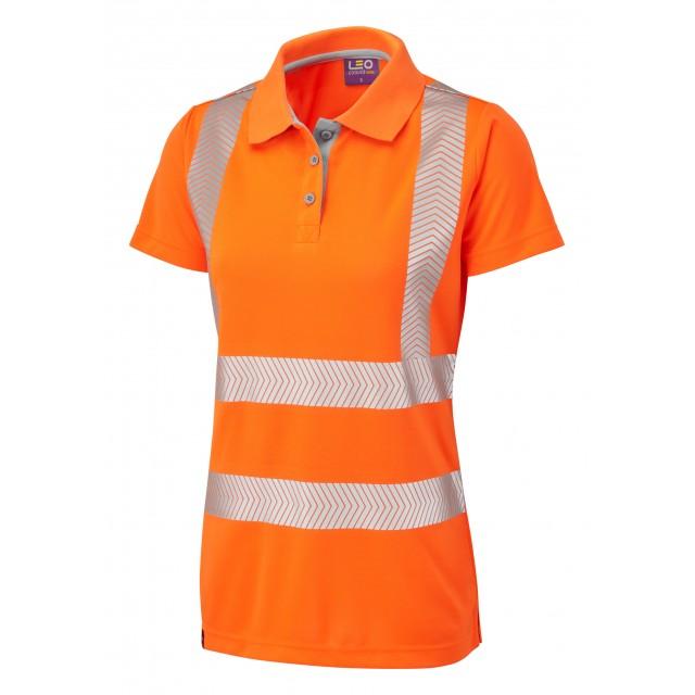 ISO 20471 Class 2 Coolviz Plus Women's Polo Shirt Orange Coolviz Plus Polos