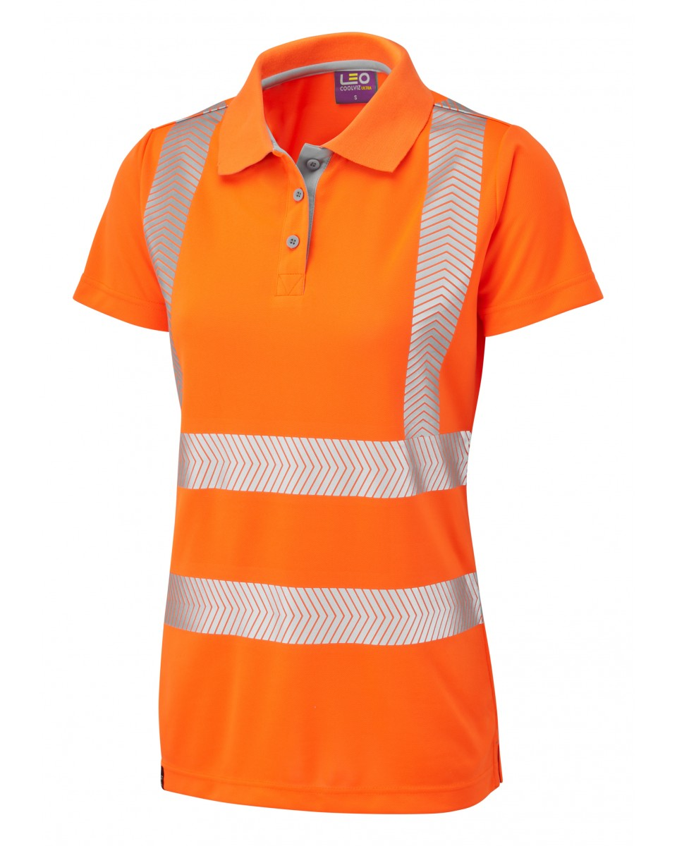 f2f533ecba111 ISO 20471 Class 2 Coolviz Plus Women's Polo Shirt Orange Coolviz Plus Polos