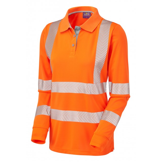 ISO 20471 Class 2 Coolviz Plus Ladies Sleeved Polo Shirt Orange Coolviz Plus Polos