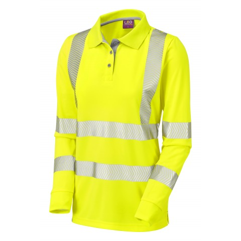 ISO 20471 Class 2 Coolviz ULtra Women's Sleeved Polo Shirt Yellow Coolviz Ultra Polos