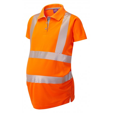 ISO 20471 Class 2 Coolviz Ultra Ladies Maternity Polo Shirt Orange Coolviz Ultra Polos
