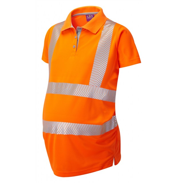 ISO 20471 Class 2 Coolviz Ultra Women's Maternity Polo Shirt Orange Coolviz Ultra Polos