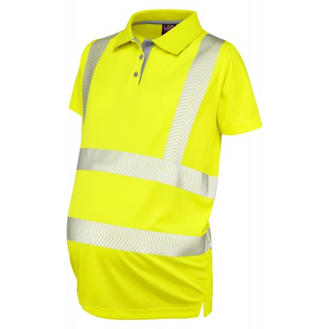 ISO 20471 Class 2 Coolviz Ultra Women's Maternity Polo Shirt Yellow Coolviz Ultra Polos