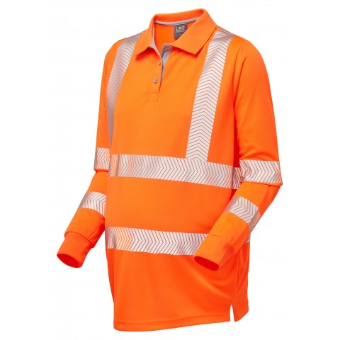 ISO 20471 Class 2 Coolviz Ultra Women's Maternity Sleeved Polo Shirt Orange Coolviz Ultra Sleeved Polos