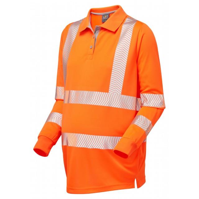 ISO 20471 Class 2 Coolviz Ultra Women's Maternity Sleeved Polo Shirt Orange Coolviz Ultra Sleeved Polos