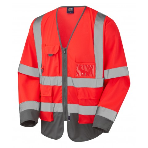 ISO 20471 Class 3 Sleeved Superior Waistcoat Red/Grey Superior Sleeved Waistcoats