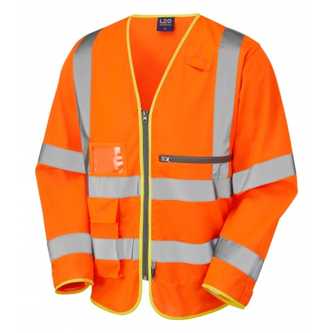 ISO 2041 Class 3 Superior Sleeved  Waistcoat with Tablet Pocket Orange