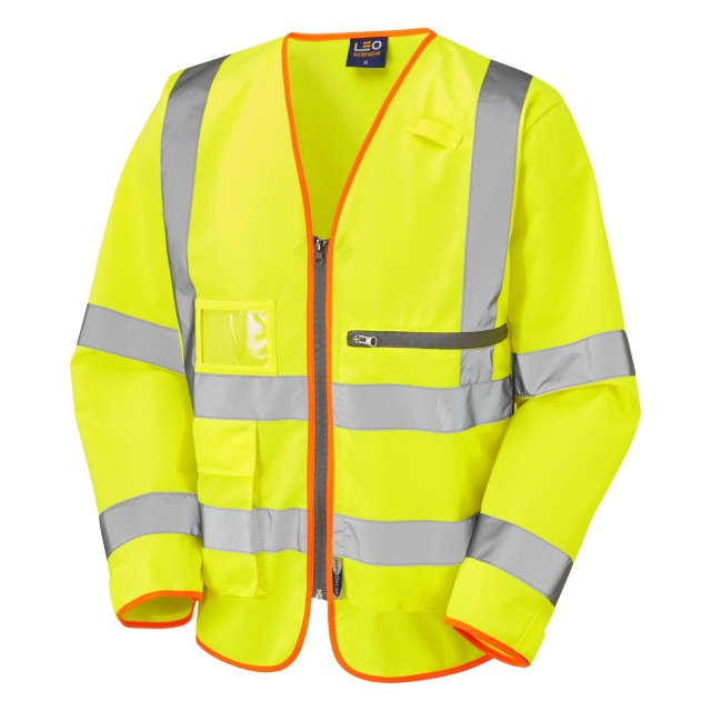 ISO 2041 Class 3 Superior Sleeved  Waistcoat with Tablet Pocket Yellow