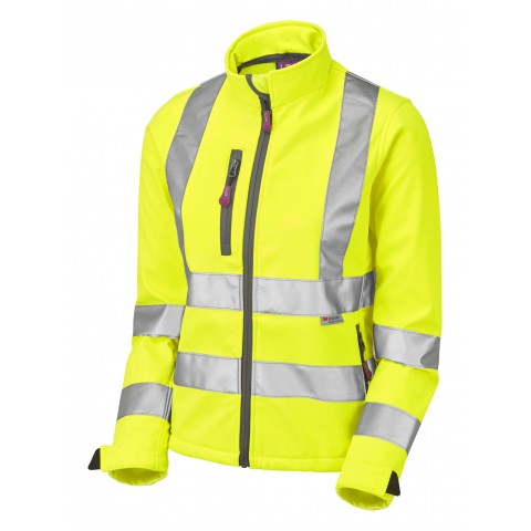 ISO 20471 Class 2 Women's Softshell Jacket Yellow Ladies Softshell Jackets