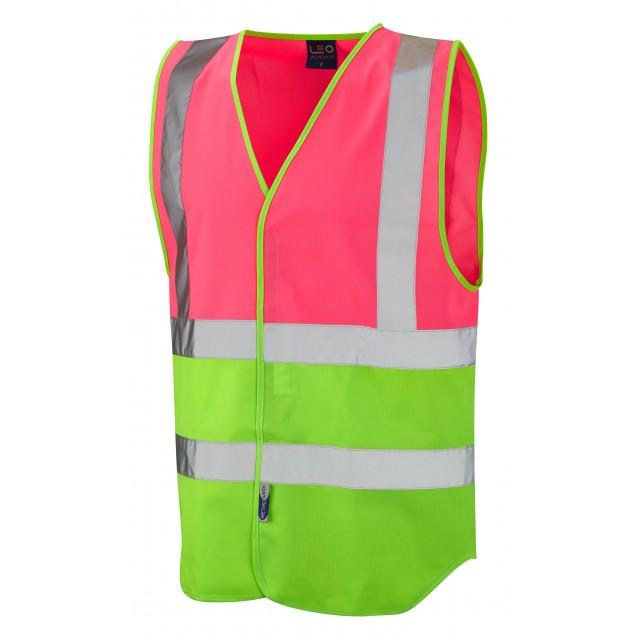 Dual Colour Reflective Waistcoat (Non ISO 20471) Pink/Lime Dual Colour Waistcoats