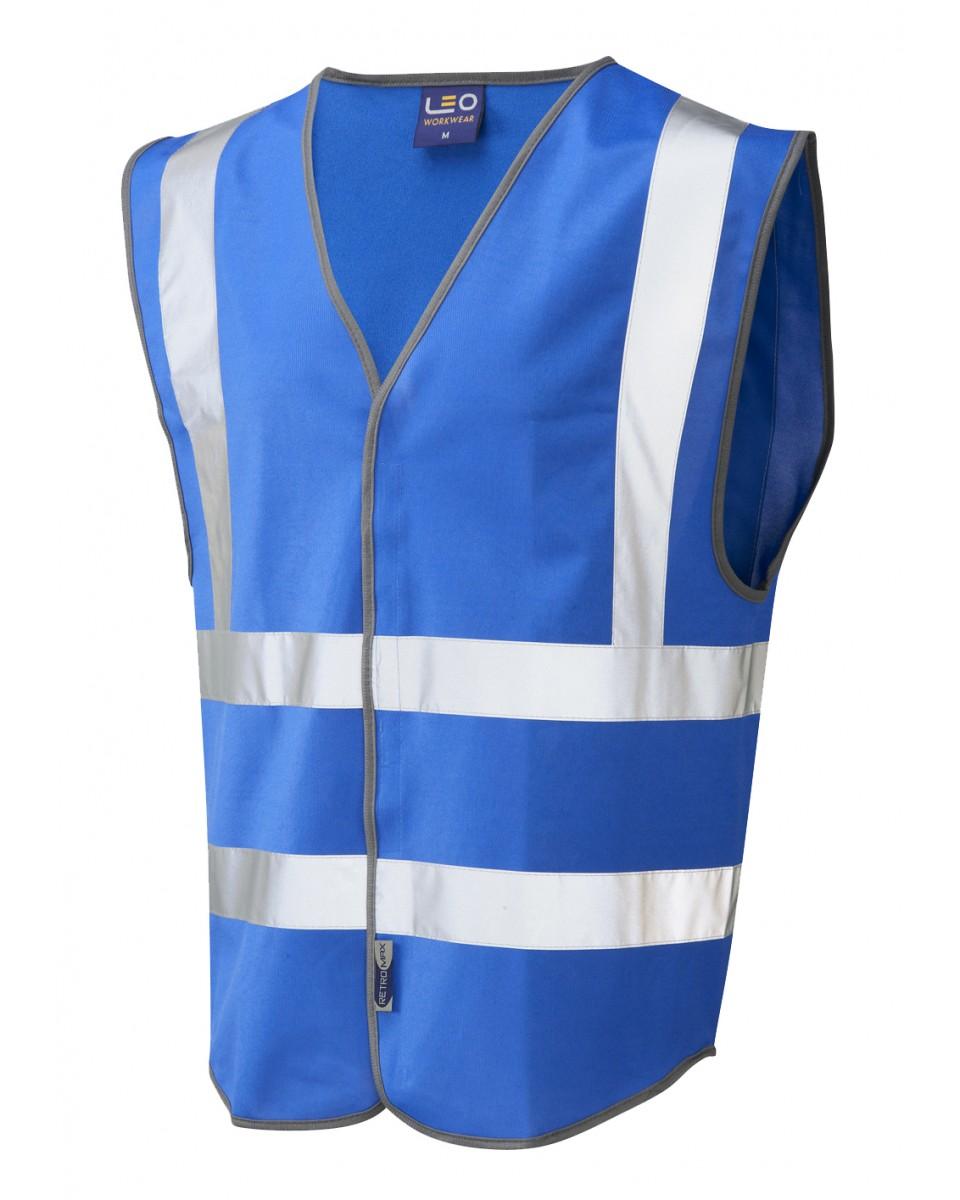 Leo Workwear Pilton Royal Blue Hi Vis Reflective Waistcoat